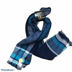 Mixit blue plaid oblong blanket scarf nwt